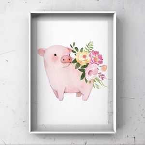Watercolor piglet with flowers on back art print